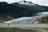 Mendenhall Glacier and Waterfall, Juneau — Stock Photo