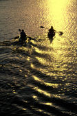 Man and Woman Kayaking at Sunset — Foto de Stock