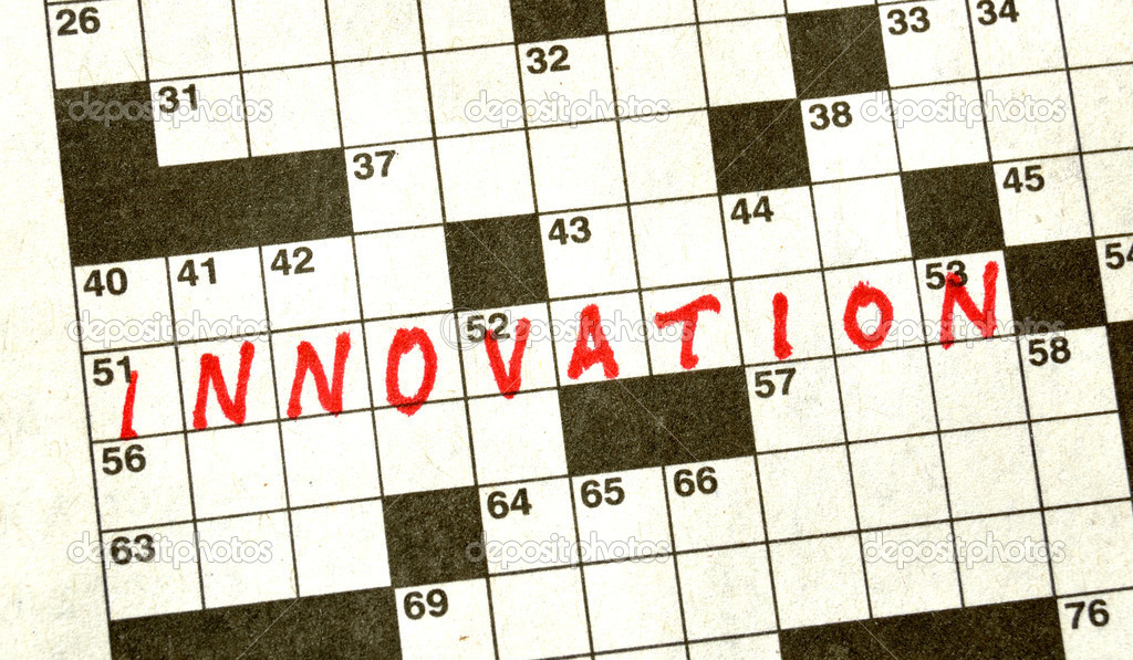 The Word Innovation on Crossword Puzzle in Red Ink — Stock Photo #2193198