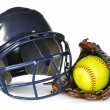图库照片: Helmet, Yellow Softball, and Glove