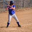 Teen Girl Softball Player Batting — Stock Photo
