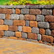 Stock Photo: Retaining wall and patio