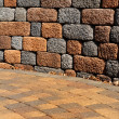 Retaining wall and patio — Stock Photo