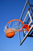 Basketball Shot Falling Through the Net — Stock Photo