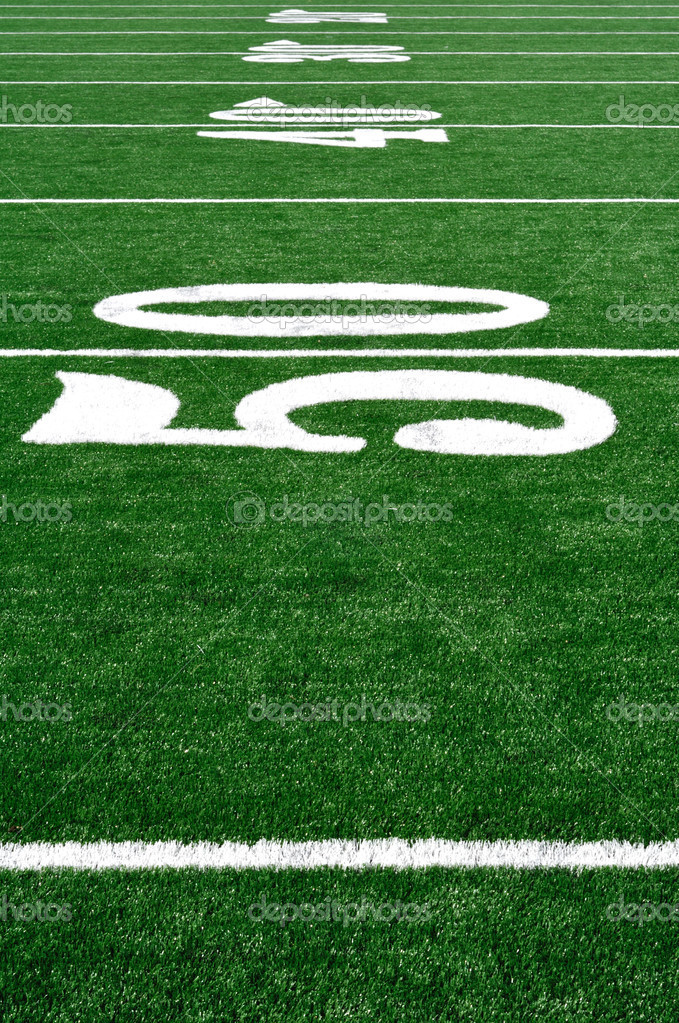 50 Yard Line on American Football Field, Copy Space, vertical — Stock Photo #2295260