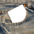 Stock Photo: Denim Pocket with notecard 1