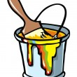 Stock Vector: Paintbrush in paint can