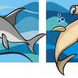 Marine life: sharks — Stock Vector