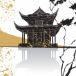 Stock Vector: Chinese pagodabstract background