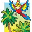 Stock Vector: Parrot flying above the palm trees