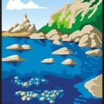 Rocks and sea — Stock Vector