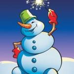 Snowman holding sparkler — Stock Vector #2137466