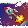 Stock Vector: Spaceship blasting off into space
