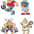Cartoon Sportsmen - Stock Vector