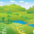 Cartoon summer landscape - Vettoriali Stock 