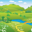 Cartoon summer landscape — Imagen vectorial