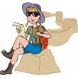 Female tourist exploring a map - Stock Vector