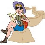 女性旅游探索地图 — 图库矢量图片