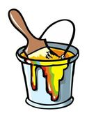 Paintbrush in a paint can — Stock Vector