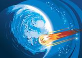 Cometa volare sopra un pianeta — Vettoriale Stock