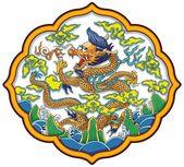 Dragon chinois entre les nuages et les vagues — Vecteur