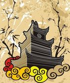 Chinese pagoda abstract background — Stock Vector