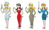 Kadın-profesyoneller — Stok Vektör