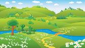 Cartoon summer landscape — Stock Vector