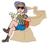 Female tourist exploring a map — Stock Vector