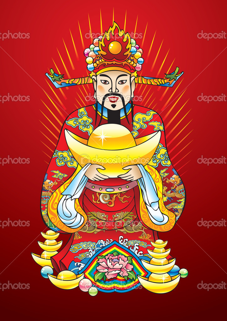 Chinese New Year god of wealth, riches and prosperity, with golden treasures and flower of lotus, vector illustration — Stock Vector #2133553