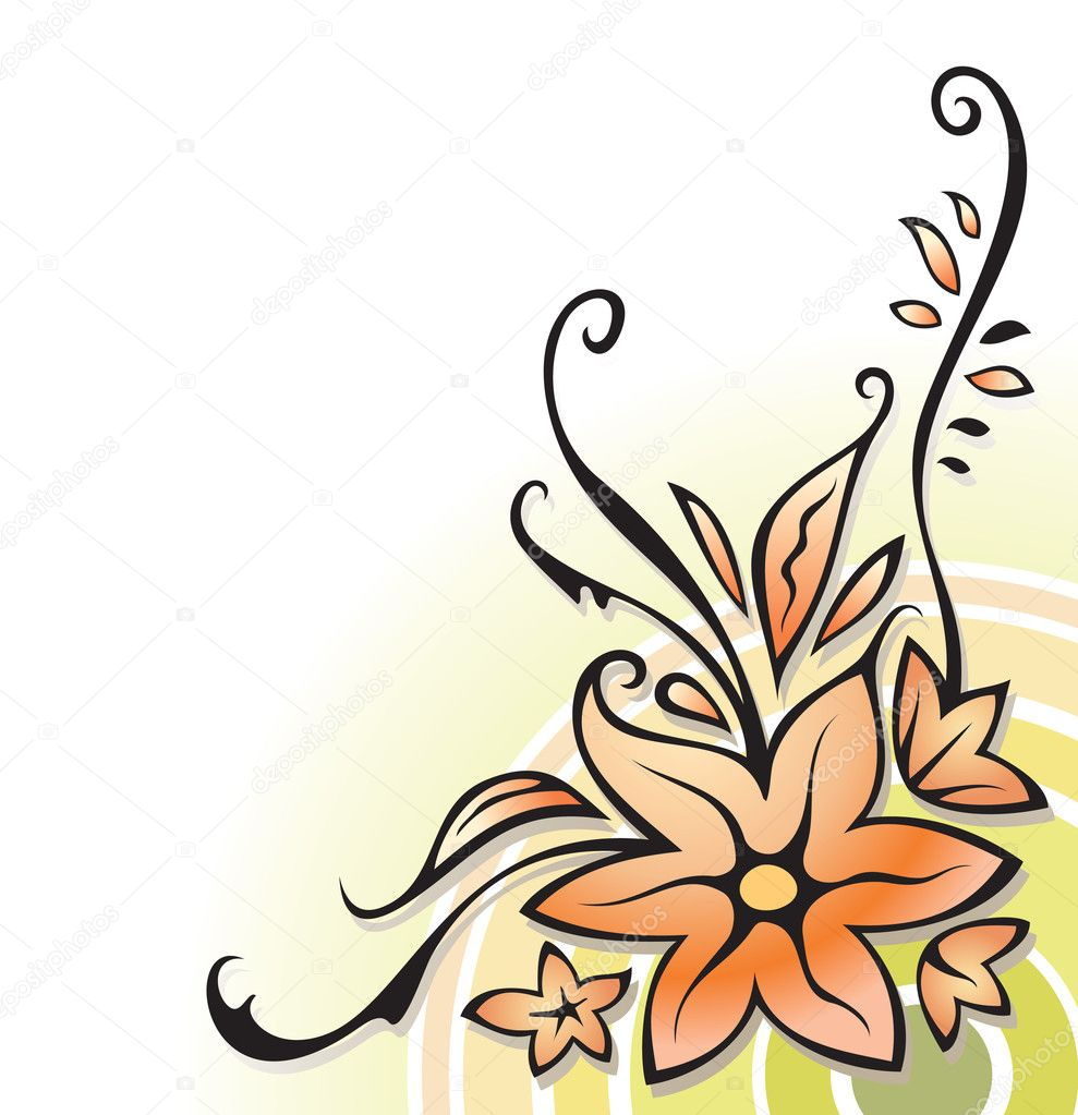 Ornamental corner, floral decoration, on white, element for design, vector illustration  Stock Vector #2133743