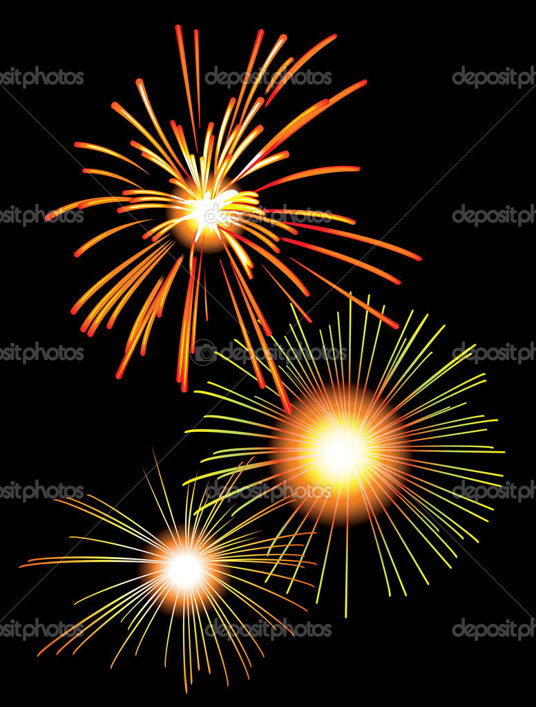 Fireworks, holiday salute in the night sky, vector illustration — Stock Vector #2134343