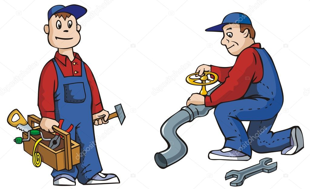 Two pictures of plumber with tools, working, vector illustration — ベクター素材ストック #2136589