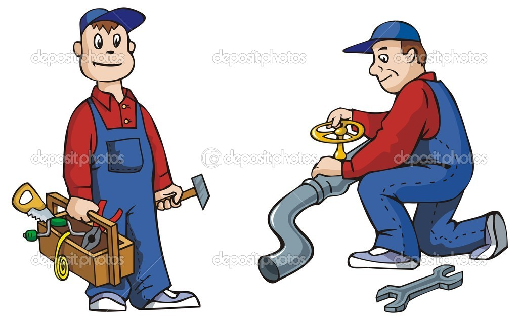 Two pictures of plumber with tools, working, vector illustration — Stockvectorbeeld #2136589