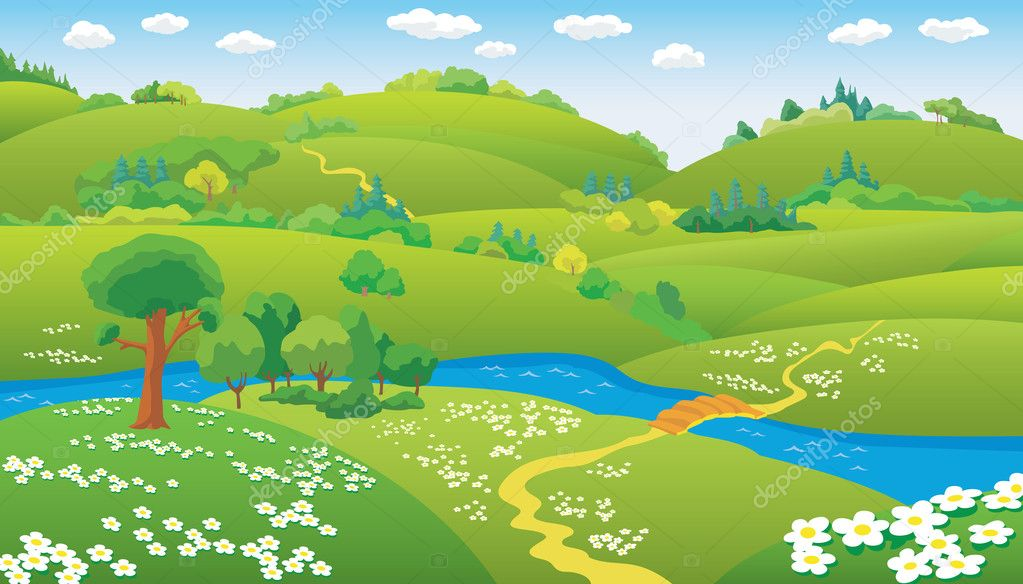 Summer landscape, hills and the river on the plain, vector illustration — Stock Vector #2137623