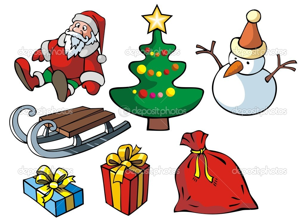 Set of Christmas objects, vector illustration — Stock Vector #2138009