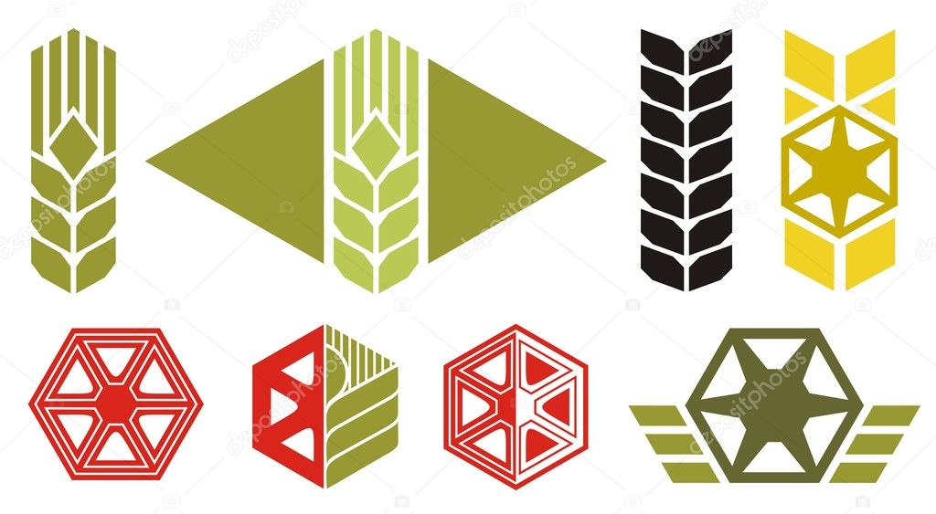 Set of icons on agriculture topics, ear of wheat, parts of harvesting machine, vector illustration  Stock Vector #2138323