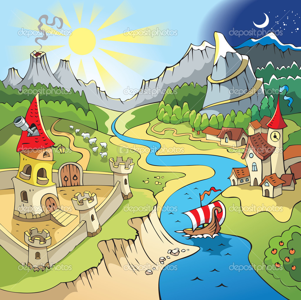 Fairy tale landscape, wonder land with castle and town, cartoon vector illustration — Stock Vector #2138453