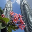 Petronas Twin Towers with flowers in the - Stock Photo