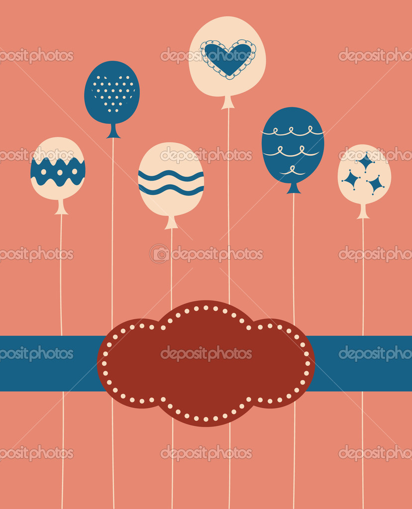 Balloon birthday card design — Stock Vector #2129136