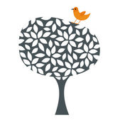 Bird and tree wallpaper design — Stock Vector