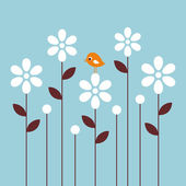 Vector bird and flower background desig — Stock Vector