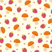 Vector Strawberry and Mushrooms wallpape — Stock Vector