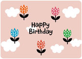 Vector floral birthday card design — Stock Vector