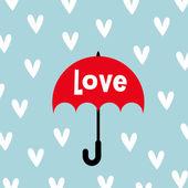 Guarda-chuva com design de cartão de amor — Vetor de Stock