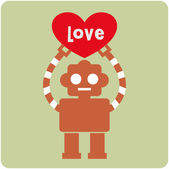 Robot with heart card design — Stock Vector