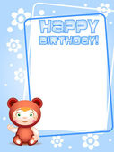 Teddy bear happy bithday card — Stock Vector