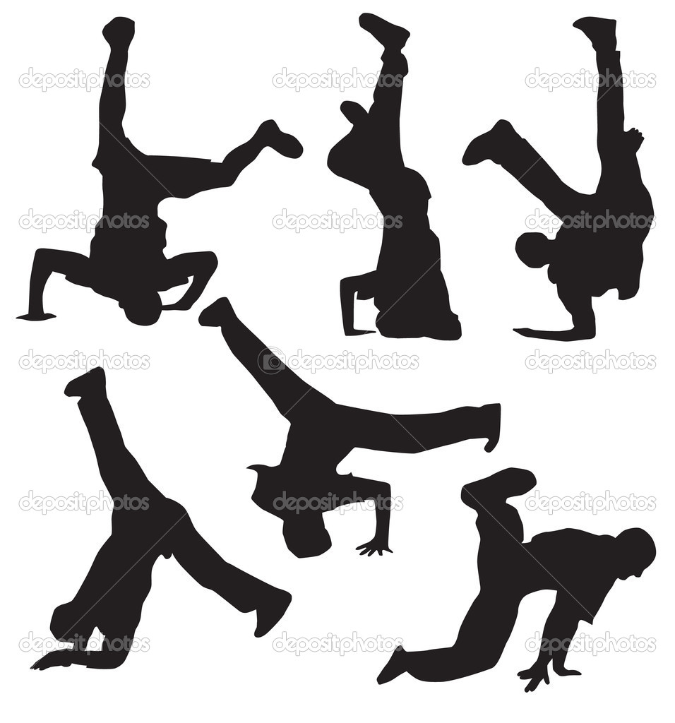 Break dance silhouettes — Stock Vector #2152093