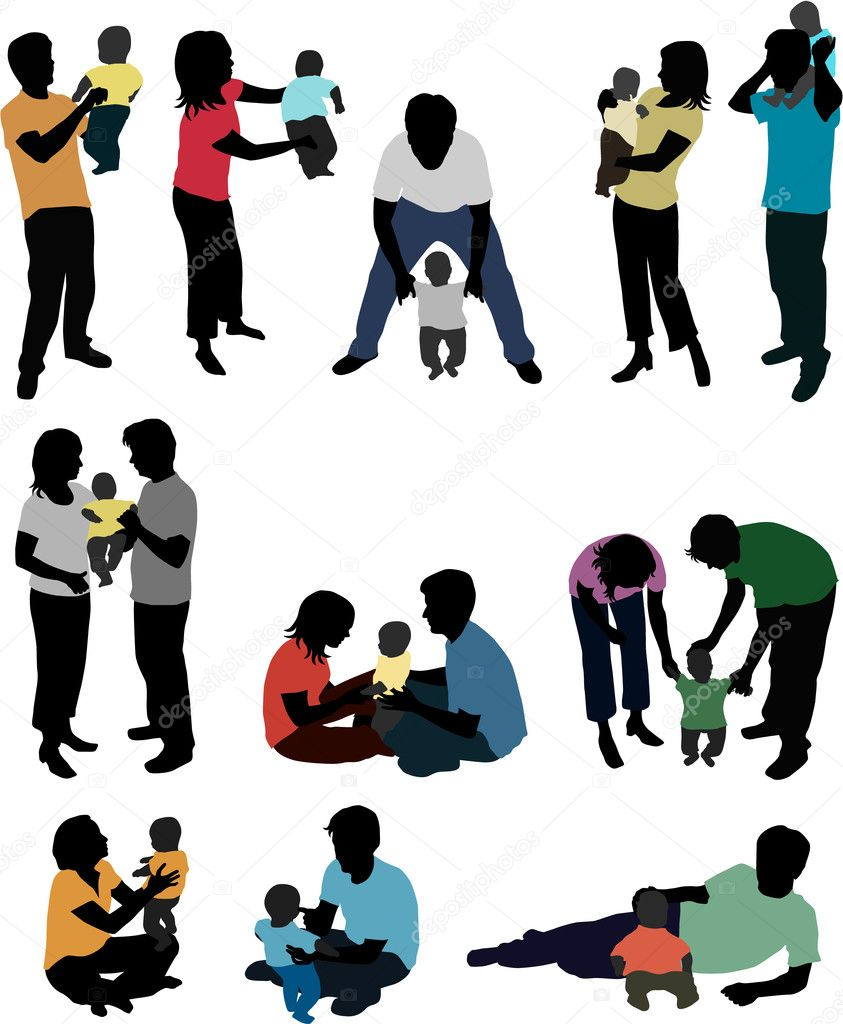 Family silhouettes — Stock Vector #2153051
