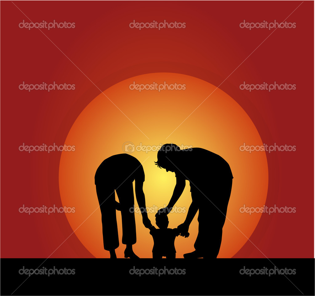 Family silhouettes — Stock Vector #2168405